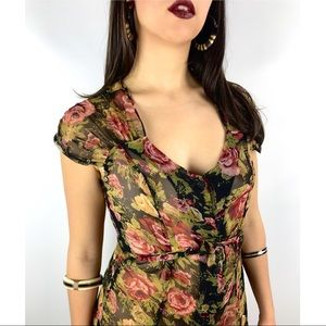 Vintage sheer rose print button down dress